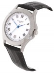Calibre Men's White Dial& Black Leather Strap Watch