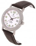 Calibre Men's White Dial Steel Watch with Brown Strap