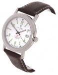 Calibre Men's White Dial Stainless Steel Watch with Brown Strap