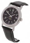 Calibre Men's Black Dial Steel Watch with Black Strap