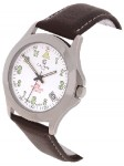Calibre Men's Stainless Steel Brown Strap Watch