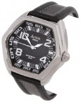 Activa by Invicta Men's Black Leather Strap Watch