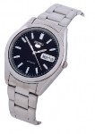 Seiko 5 Men's Automatic Stainless Watch with Black Dial