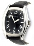 Prague Men's Black Croco-print Leather Strap Watch